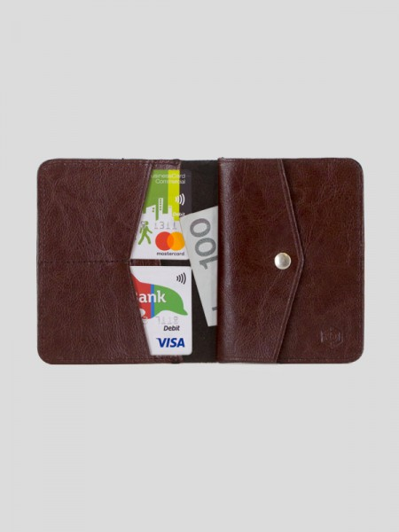 Slim Leather Coin Wallet BRG