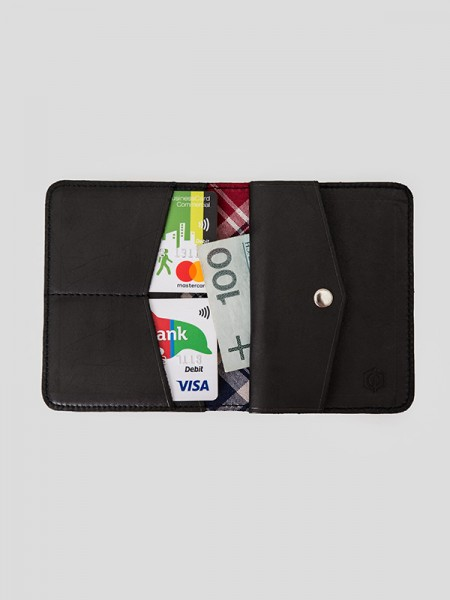 Tartan Slim Leather Coin Wallet BCK